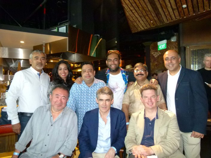 Winners all...SEATED  William Drew (in a beige jacket) , Charles Reed (centre) Tetsuya Wakhuda (Lifetime achievement awardee) STANDING Rajesh Kewalramani, partner Gaggan, (Blue jacket)  JP Singh (Bukhara)  Gaggan (Asia's best) Manish Mehtrotra (Indian Accent) Bindu Panicker (Bukhara) Dharshan Munidasa (Nihon Bashi and Ministry of crab) in Singapore.