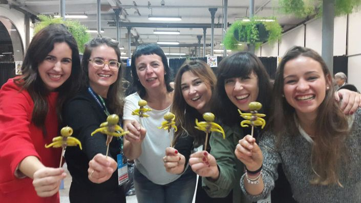 with the Gilda pintxo, Michelin starred chef Fina Puigdevall with Anna, Marina, Arian, Berta