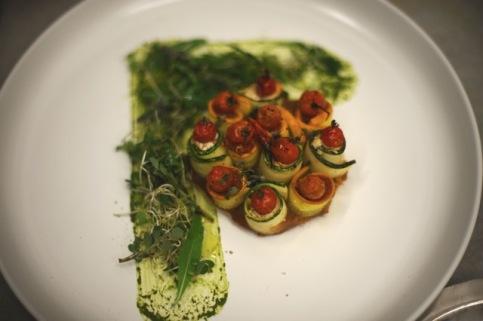 Roselette tartelette with aubergine achard