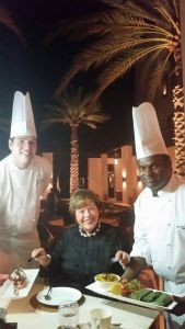 World class cuisine…Chef Sunil, chef Giles and Lorie Koenig at The Chedi