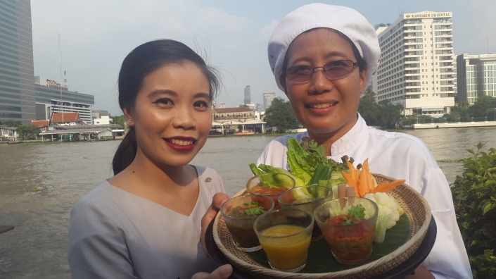 CHEF Uemporn Yuayaipong and Karn Puntuhong with the vibrant Thai dips at Sala Rim Naam